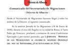 Cambio de fecha de la Jornada de Migraciones